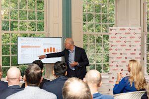 Jan van der Doelen spreekt tijdens het Talking Dinner Vastgoed